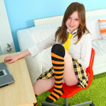 Pretty Teen Schoolgirl Playing With A New Ribbed Dildo She Got For Her 18th Birthday - Picture 1
