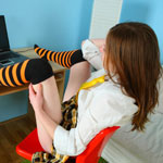Pretty Teen Schoolgirl Playing With A New Ribbed Dildo She Got For Her 18th Birthday - Picture 4