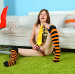 Pretty Teen Schoolgirl Playing With A New Ribbed Dildo She Got For Her 18th Birthday - Picture 15